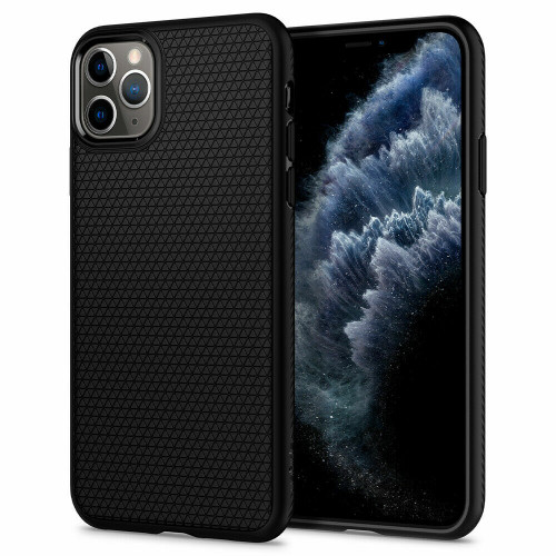 iPhone 11 Pro Max Case, Spigen Liquid Air Slim TPU Protective Cover - Matte Black
