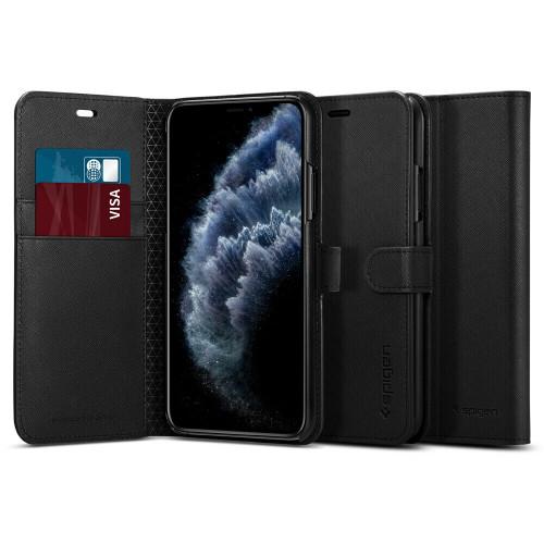 iPhone 11 Pro Max Case, Spigen Wallet S Luxury Leather Card Wallet Cover - Black