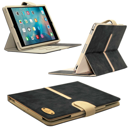Black Apple iPad Genuine Suede Leather Flip Case Wallet Smart Stand Detachable Cover