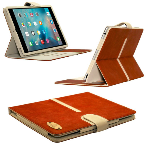 Brown Apple iPad Genuine Suede Leather Flip Case Wallet Smart Stand Detachable Cover