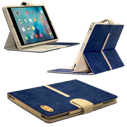 Navy Apple iPad mini 4 Genuine Suede Leather Flip Case Wallet Smart Stand Detachable Cover
