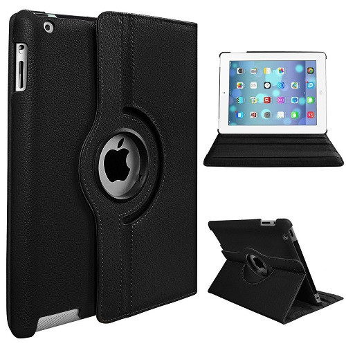 Apple iPad Mini 1 2 3 Black PU Leather 360 Rotating Case