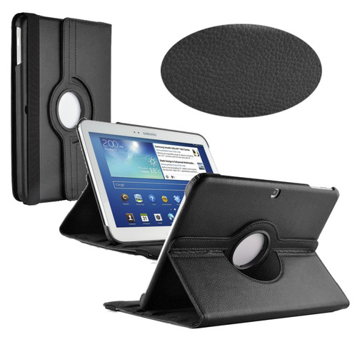 Black PU Leather 360 Rotating Case for Samsung Galaxy Tab 3 10.1 (P5200/P5210)