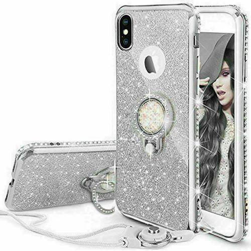 For Samsung S21 silver  Bling Diamond Ring Holder Soft Cover Case