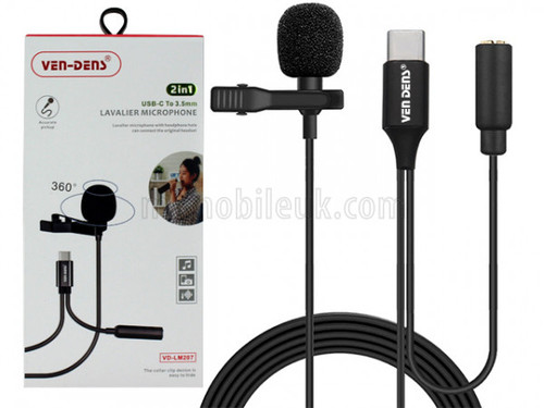 VD-LM207 Lavalier Microphone to USB-C with 3.5mm Audio Splitter - Black