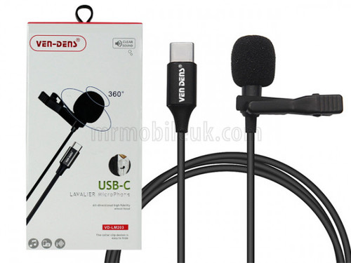 VD-LM203 Lavalier Microphone to USB-C - Black