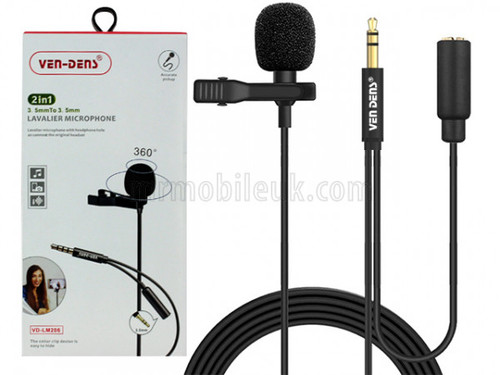 VD-LM206 Lavalier Microphone to 3.5mm AUX with 3.5mm Audio Splitter - Black