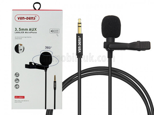 VD-LM201 Lavalier Microphone to 3.5mm AUX - Black
