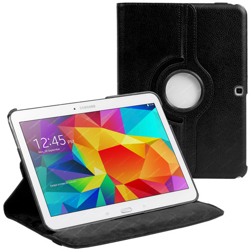 Black PU Leather 360 Rotating Case for Samsung Galaxy Tab 4 Nook 10.1 (T530)