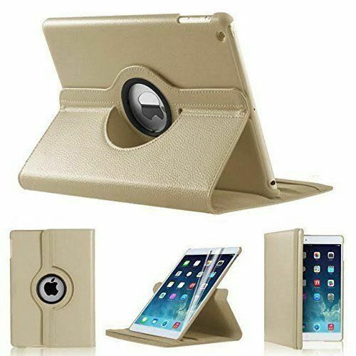 Apple iPad Mini 1 2 3 gold PU Leather 360 Rotating Case