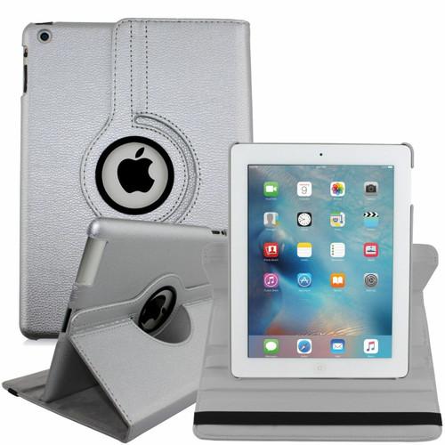 Apple iPad Mini 1 2 3 silver PU Leather 360 Rotating Case