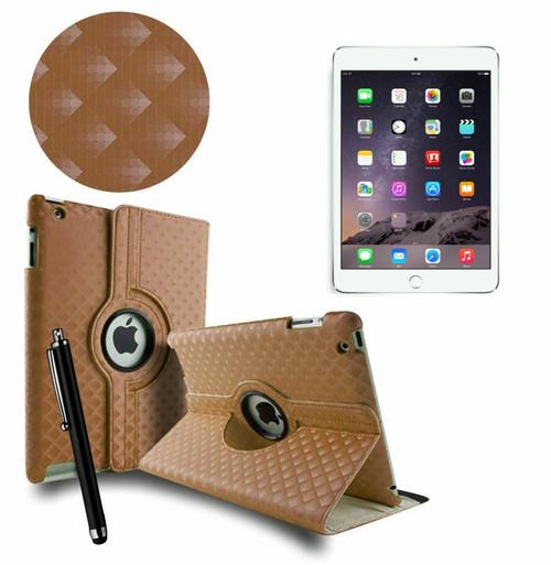 Brown 3D Diamond PU Leather 360 Rotating Smart Case Apple iPad MINI 123