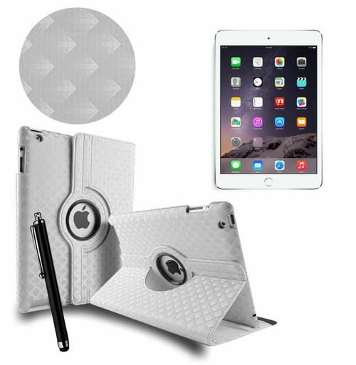 White 3D Diamond PU Leather 360 Rotating Smart Case Apple iPad MINI 123