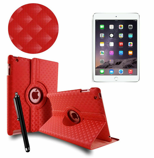 Red 3D Diamond PU Leather 360 Rotating Smart Case Apple iPad MINI 123