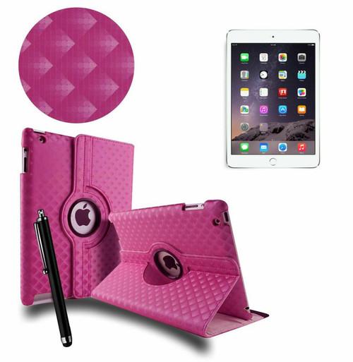 Pink 3D Diamond PU Leather 360 Rotating Smart Case Apple iPad MINI 123
