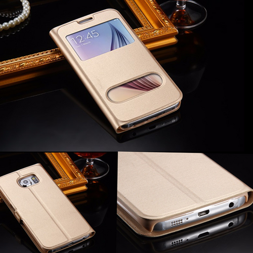 Samsung Galaxy S5 Mini  gold Double Window View Case Cover
