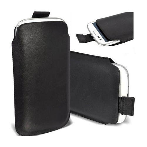 Black PU Leather Pull Tab Pouch for Samsung Galaxy S3 I9300