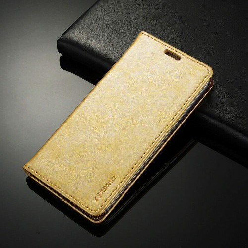 Thin Glitter gold Magnetic Leather Flip Wallet Cover Case for Samsung S6