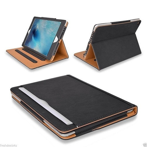 Black and Tan ipad  9.7 2017 2018  Luxury Magnetic Smart Leather Stand Flip Case
