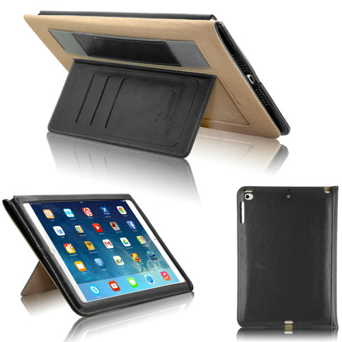 Black magnetic Handstrap Smart Flip Cover Stand Wallet Leather Case For iPad 9.7 2017 2018