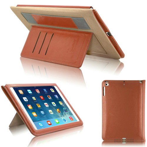 Brown  magnetic Hands trap Smart Flip Cover Stand Wallet Leather Case For iPad 9.7 2017 2018