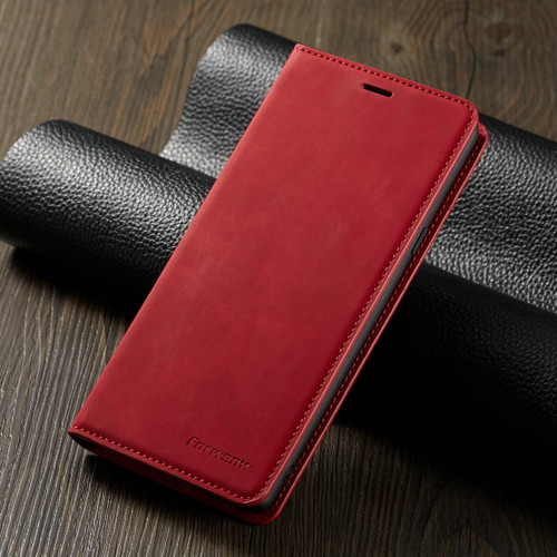 For Samsung S21 plus  red Leather Wallet Flip Case Card Stand Shockproof Cover