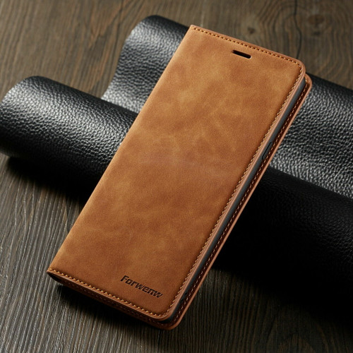 For Samsung S21 ultra brown Leather Wallet Flip Case Card Stand Shockproof Cover