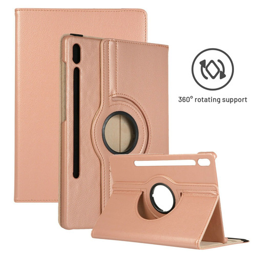 Samsung Galaxy Tab S7 Plus 12.4 T970/T975 Leather 360 Rotating Stand rose gold Case Cover