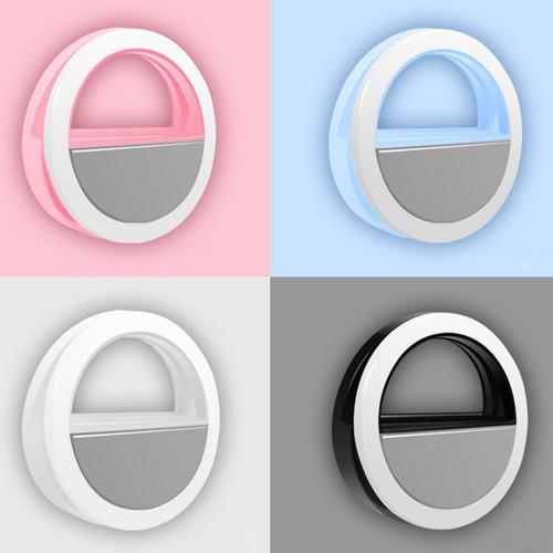 Black Selfie Led Light Ring Flash Clip Camera For Smart Phone & Tablet iPhone Samsung