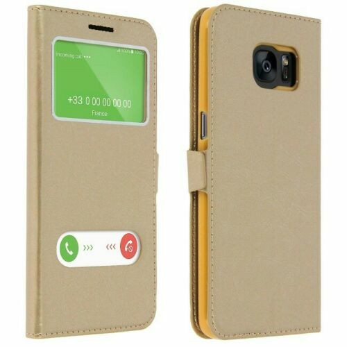 Samsung Galaxy S7  Gold Double Window view case