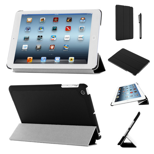 Black Slim Tri-Fold PU Leather Case for iPad 2/3/4