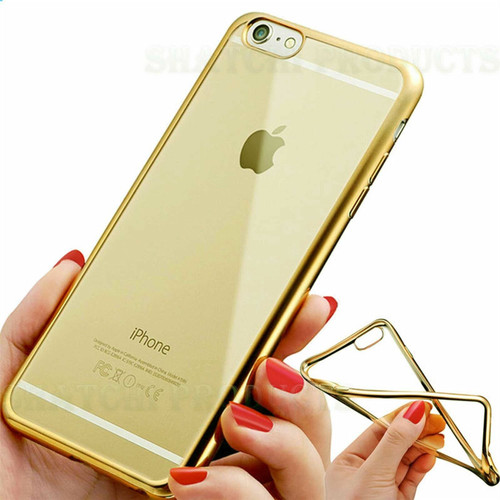 iPhone 6S & 6 Case Shock Proof Silicone Clear Gel gold Cover Slim Screen Protector