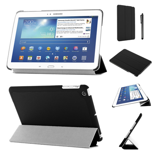 Black Slim Tri-Fold PU Leather Case for Samsung Galaxy Tab 3 8 (T310/T311)