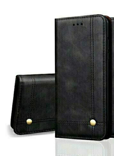 Vintage Real Leather  black Wallet Flip Case For Samsung Galaxy s10