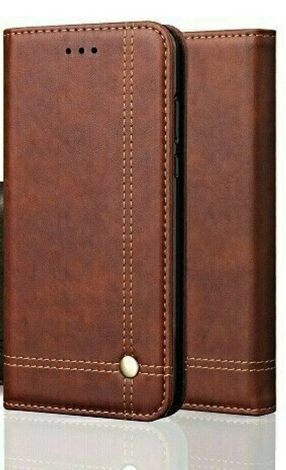Vintage Real Leather  brown Wallet Flip Case For Samsung Galaxy s10  plus