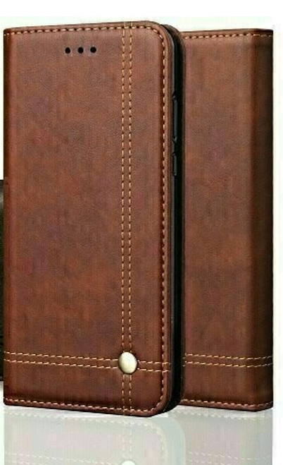 Vintage Real Leather  brown Wallet Flip Case For apple iPhone 12 pro max