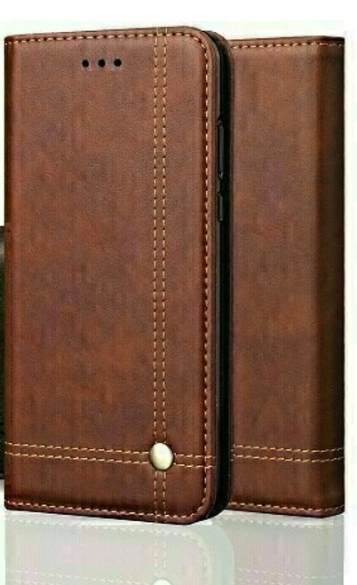 Vintage Real Leather  brown Wallet Flip Case For apple iPhone 12 pro