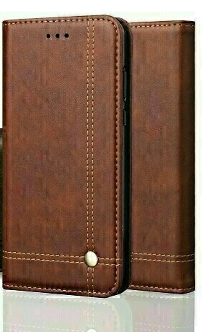 Vintage Real Leather  brown Wallet Flip Case For apple iPhone 12 mini