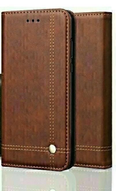 Vintage Real Leather  brown Wallet Flip Case For apple iPhone 12