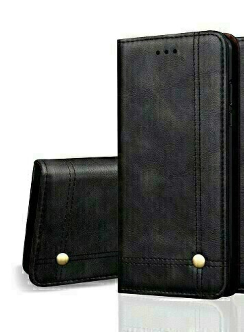 Vintage Real Leather  black Wallet Flip Case For apple iPhone 12 pro max