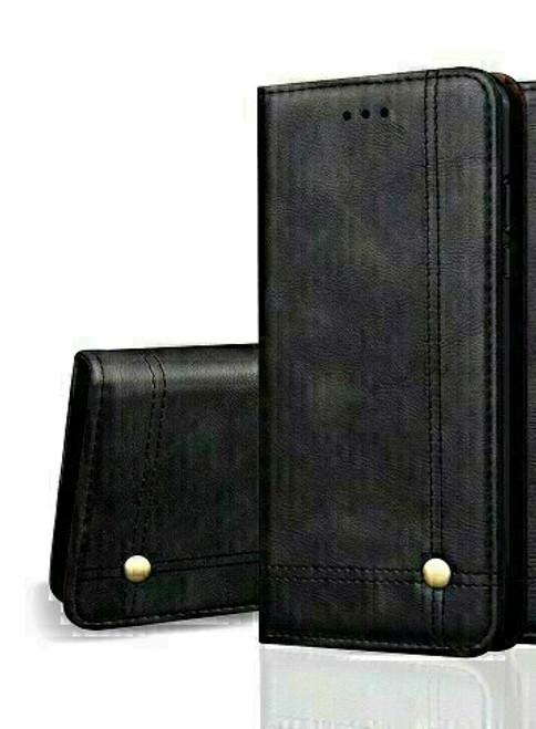 Vintage Real Leather  black Wallet Flip Case For apple iPhone 12 mini