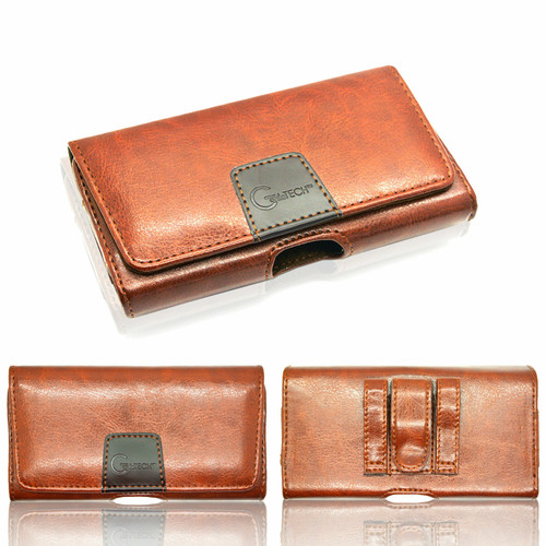 Luxury Leather Holster Belt Pouch Twin Loop Designer Protective Case For Samsung galaxy a50 brown