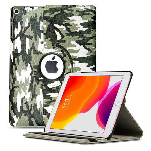 Green army camouflage 360 rotate Leather Stand Cover Case Apple iPad 10.2 (7th Generation) 2019