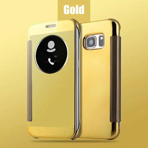 Gold Samsung Galaxy S6 Edge  Smart View Mirror Flip Phone Cover