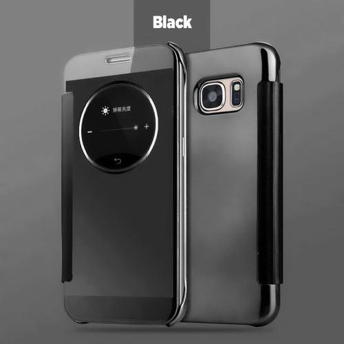 Black Samsung Galaxy S6 Edge  Smart View Mirror Flip Phone Cover