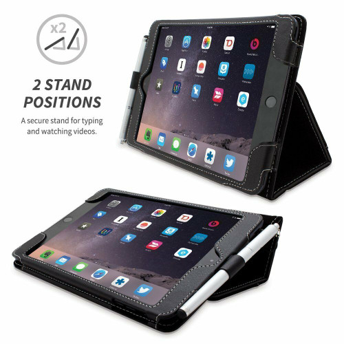 Snugg iPad Mini Flip Folio Case Cover Card Slot PU Leather iPad MINI 1 2 3 Black