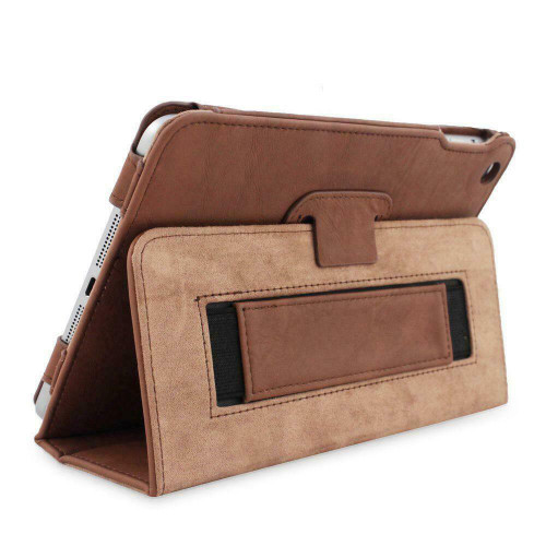 iPad Mini 3 Case Brown Leather Smart Case Cover Protective Flip Stand Sleep/wake