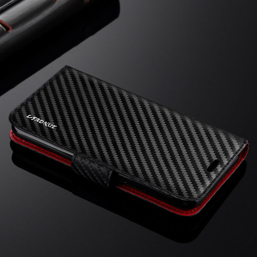For Samsung Galaxy A71 2020 Carbon Fibre Leather Wallet Flip Case Cover