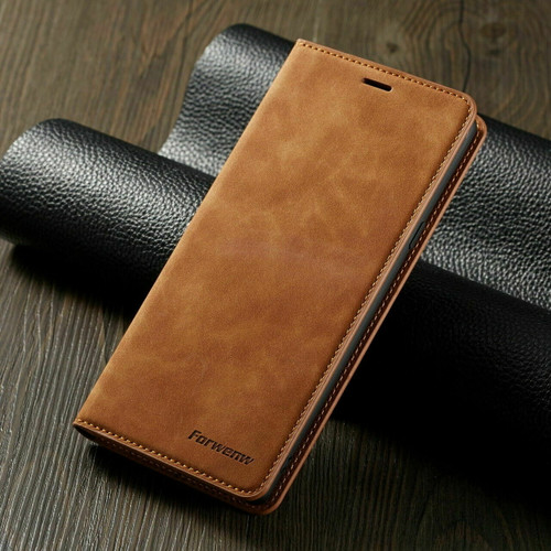 For Samsung A71 2020 brown Leather Wallet Flip Case Card Stand Shockproof Cover