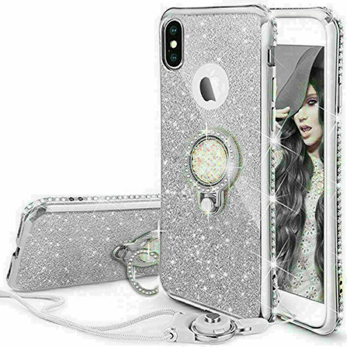 For Samsung galaxy a71 2020 silver  Bling Diamond Ring Holder Soft Cover Case